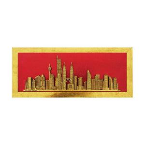 Kuala Lumpur Skyscrapers gold design art piece home office decoration wood veneer wedding business corporate gift premium luxury hand-made present