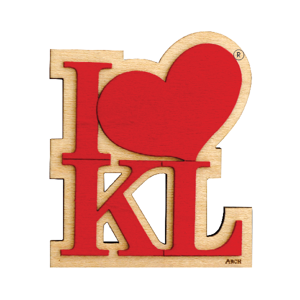 Wood Veneer Magnets  - I Love KL