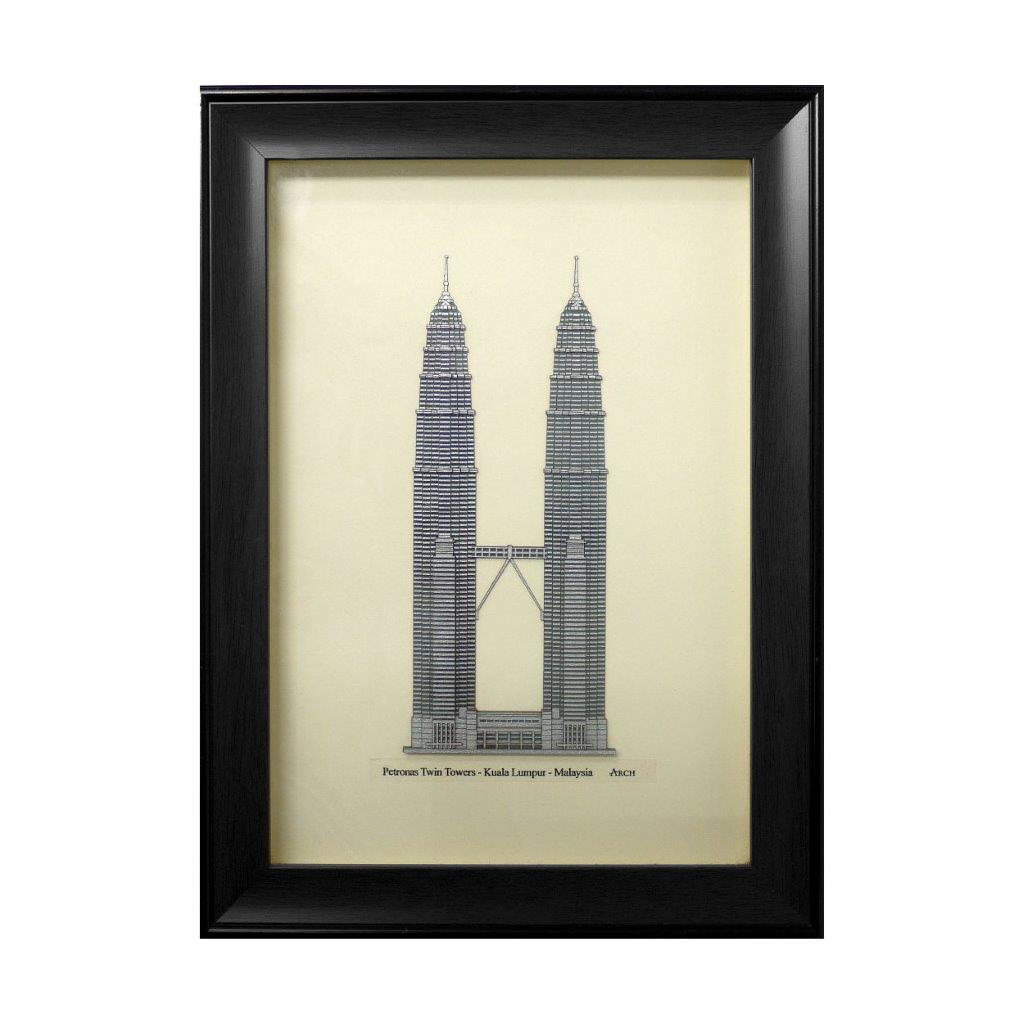 klcc petronas twin tower heritage design art piece home office decoration wood veneer wedding business corporate gift premium luxury hand-made present