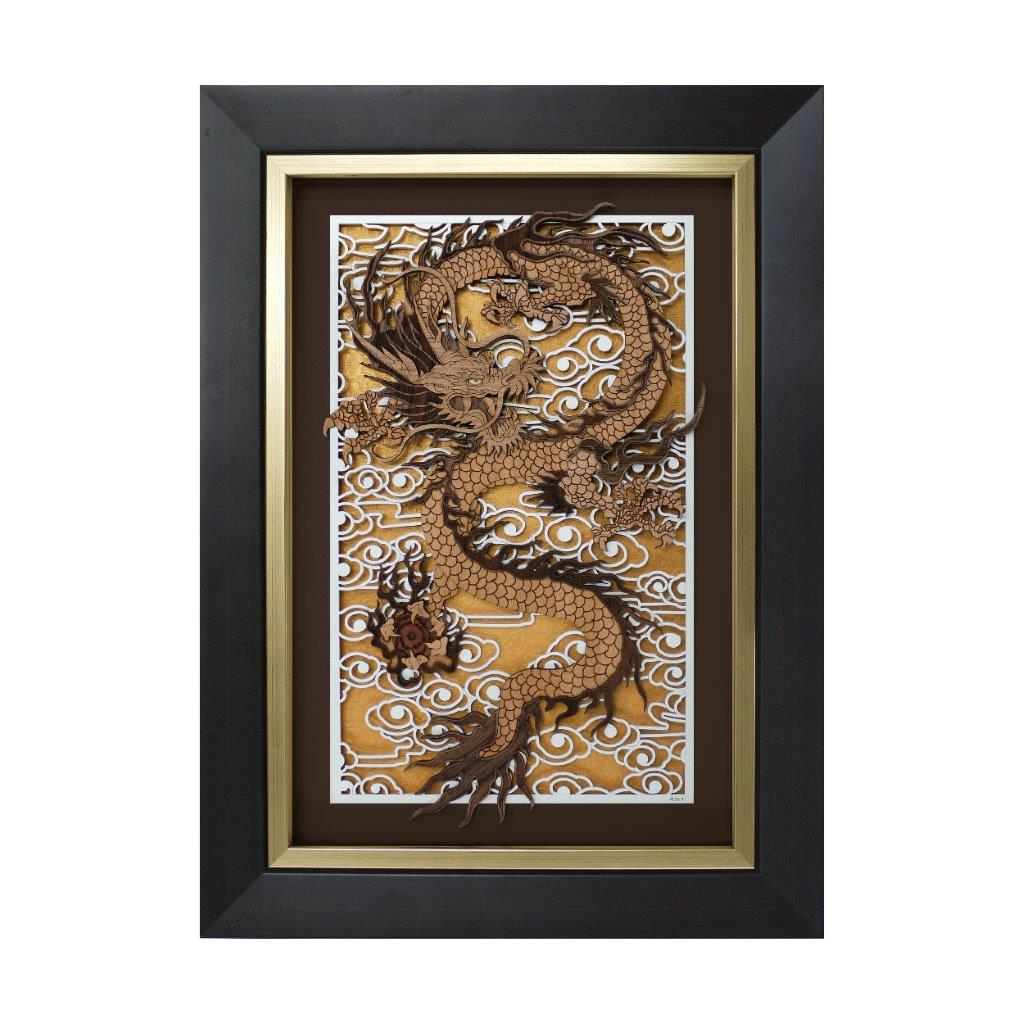 Prosperity Dragon chinese oriental design art piece home office decoration wood veneer wedding business corporate gift premium luxury hand-made present