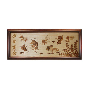 Prosperity Goldfish chinese design art piece home office decoration wood veneer wedding business corporate gift premium luxury hand-made present