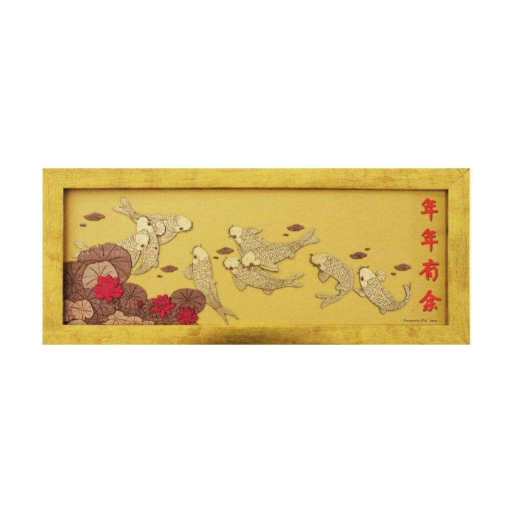 Prosperity koi gold chinese design art piece home office decoration wood veneer wedding business corporate gift premium luxury hand-made present