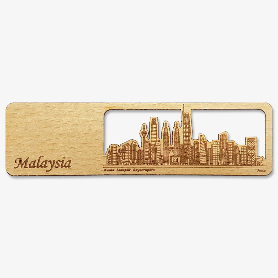 Wood Veneer Bookmarks  - KL Skyscrapers