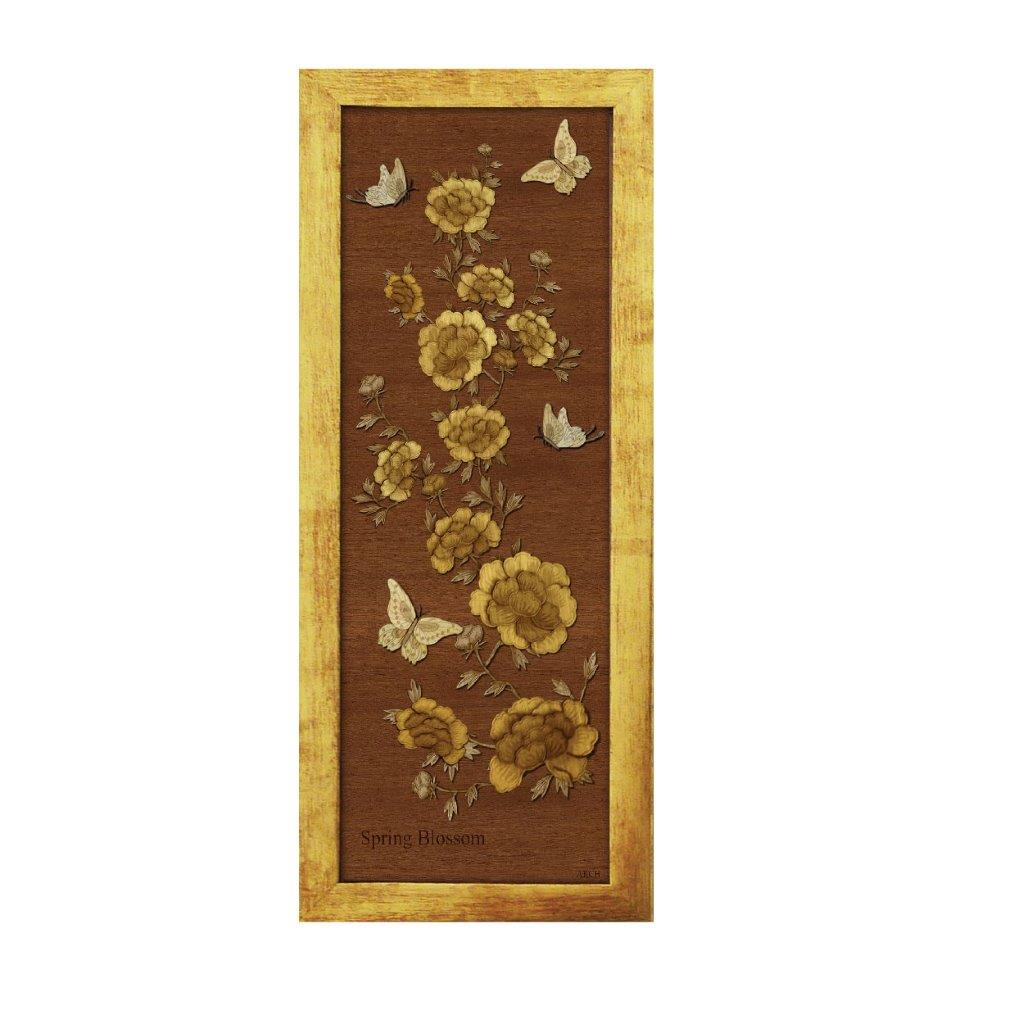Spring Blossom gold chinese oriental design art piece home office decoration wood veneer wedding business corporate gift premium luxury hand-made present