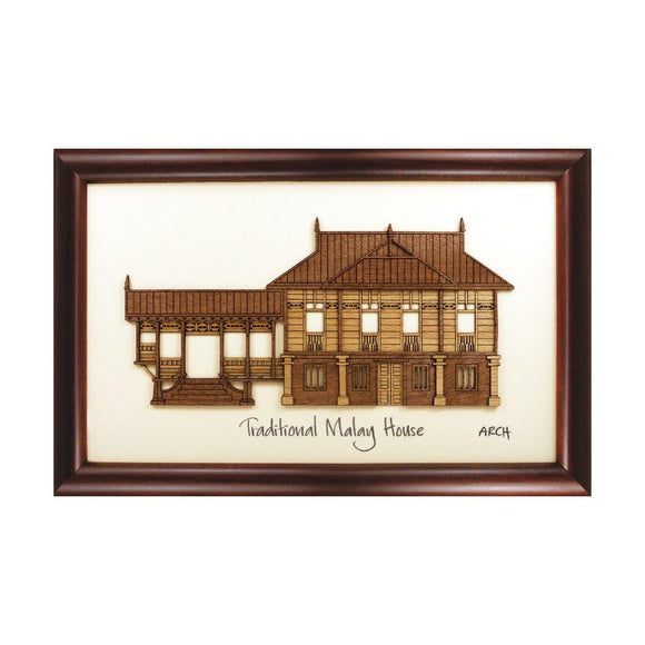 Traditional Malay House heritage design art piece home office decoration wood veneer wedding business corporate gift premium luxury hand-made present