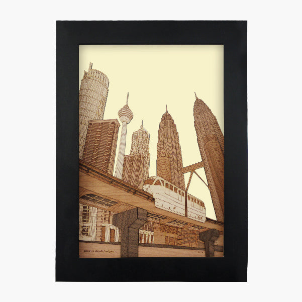 Modern Kuala Lumpur design art piece home office decoration wood veneer wedding business corporate gift premium luxury hand-made present