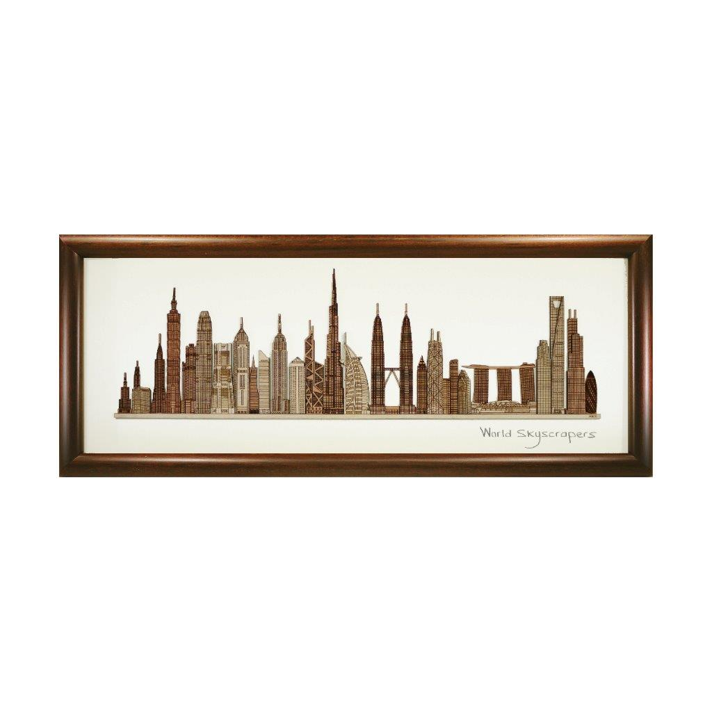world skyscraper highrise heritage design art piece home office decoration wood veneer wedding business corporate gift premium luxury hand-made present