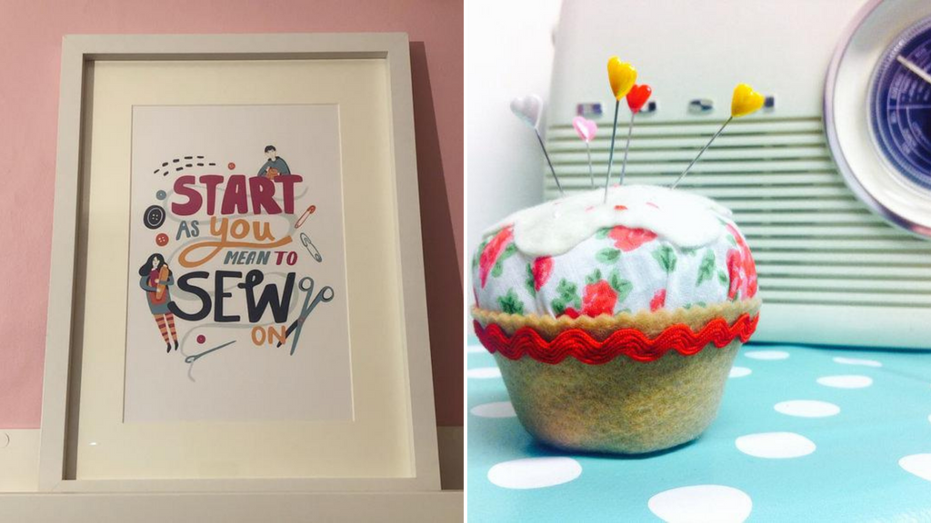 """An art print saying """"Start as You mean to Sew on"""" and a cupcake pincushion kit"""