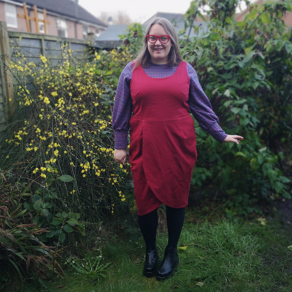Crafty Blogger model wears a pinafore dress