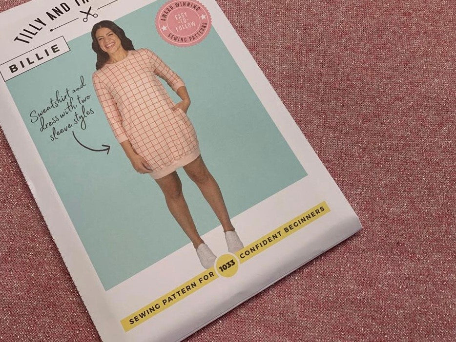 Billie Sweatshirt Pattern with Soft Pink Lurex Jersey Fabric