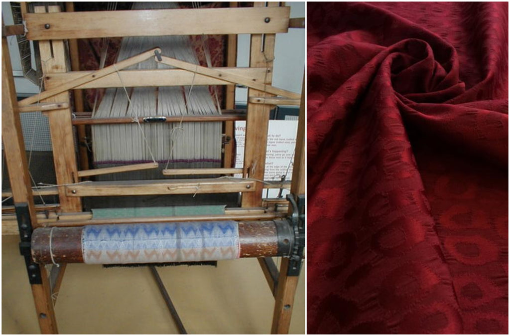 Jacquard fabric on a loom