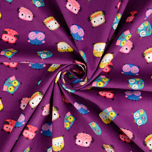 Purple Owls Printed Baby Corduroy