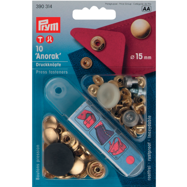 Prym Anorak Press Fasteners 15mm - Gold