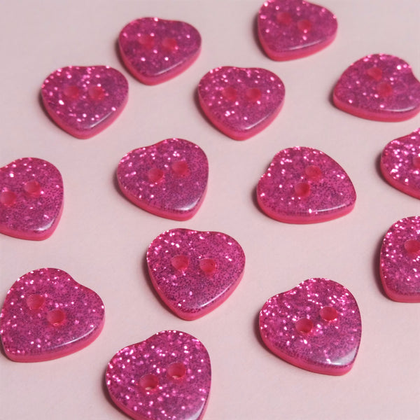Pink Hearts 14mm Buttons Pack of Six