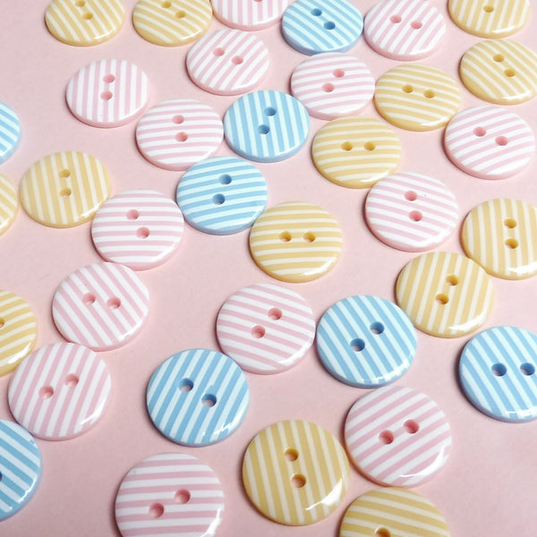 Pink Candy Stripe 15mm Buttons Pack of Five