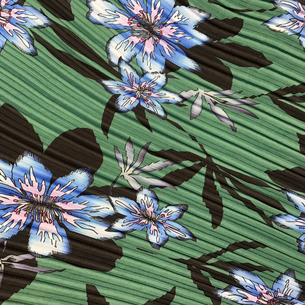 Forest Green Plisse Pleated Floral Print Polyester