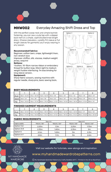 My Handmade Wardrobe Everyday Amazing Shift Dress and Top PDF Pattern