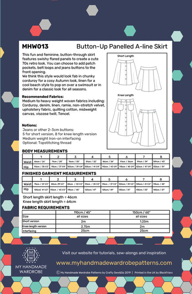 My Handmade Wardrobe Button Up Skirt PDF Pattern