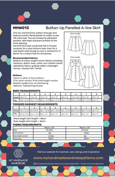 My Handmade Wardrobe Button Up Skirt Paper Pattern