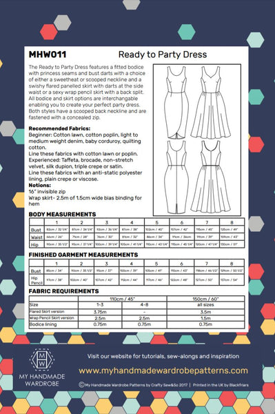My Handmade Wardrobe Ready to Party Dress Paper Pattern