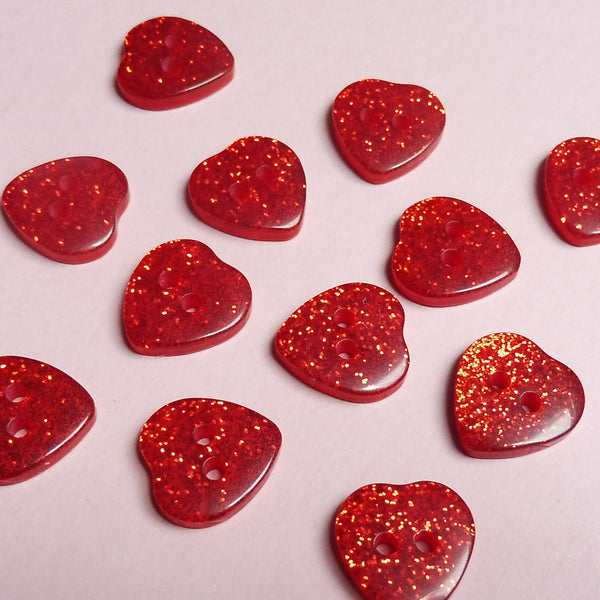 Red Hearts 14mm Buttons Pack of Six