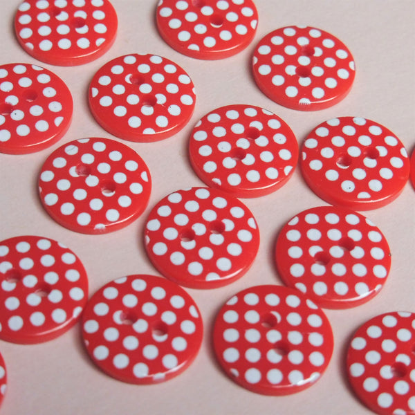 Red Polka Dot 13mm Buttons Pack of Ten