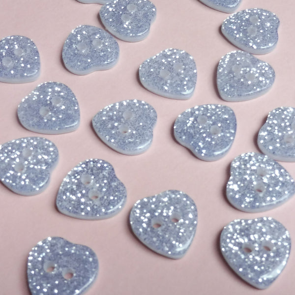 Silver Hearts 14mm Buttons Pack of Six