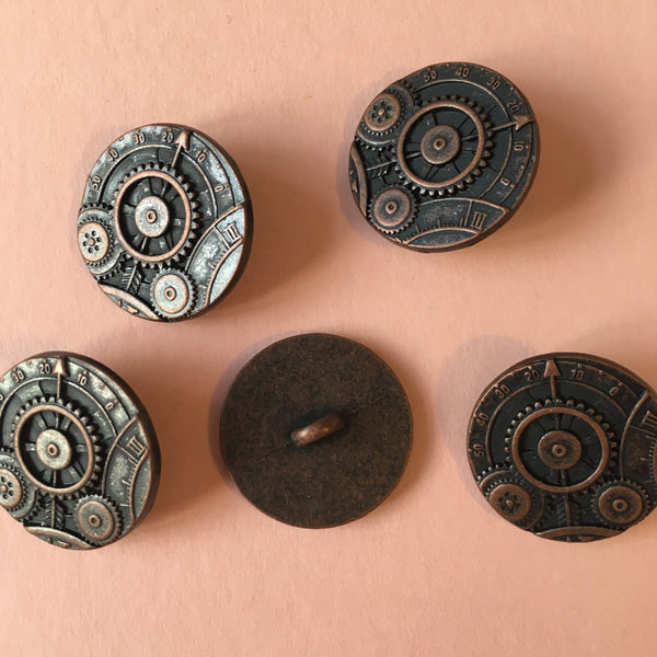 "Brass Shank Buttons ""Cogs"" Pack of Two"