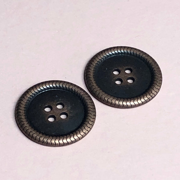 Brass Rimmed Buttons Pack of Two