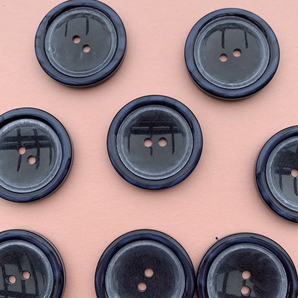 Large Navy Buttons with a Pale Blue Circle - Pack of Five