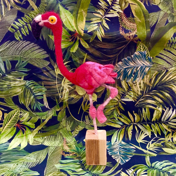 Needle Felted Flamingo with Felt and Dandy