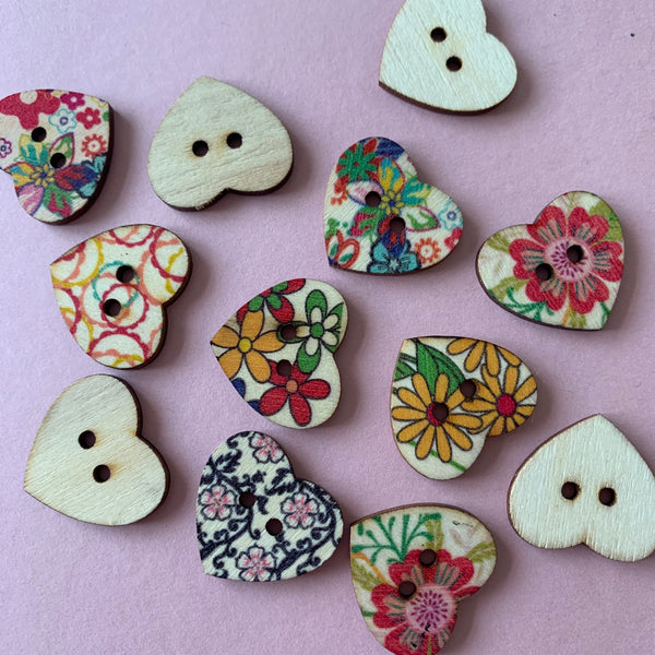 Wooden Heart-Shaped 24mm Buttons with Multicolour Floral Designs Pack of Five