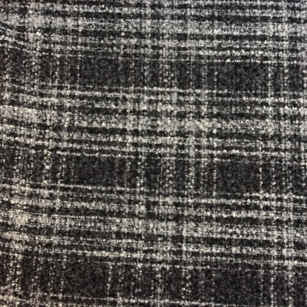 Grey Wool-Blend Check Boucle Coating Fabric