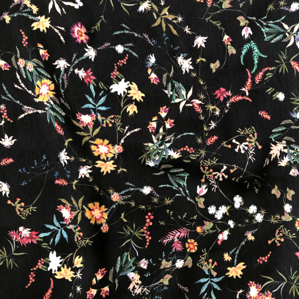 Winter Floral Polyester Satin