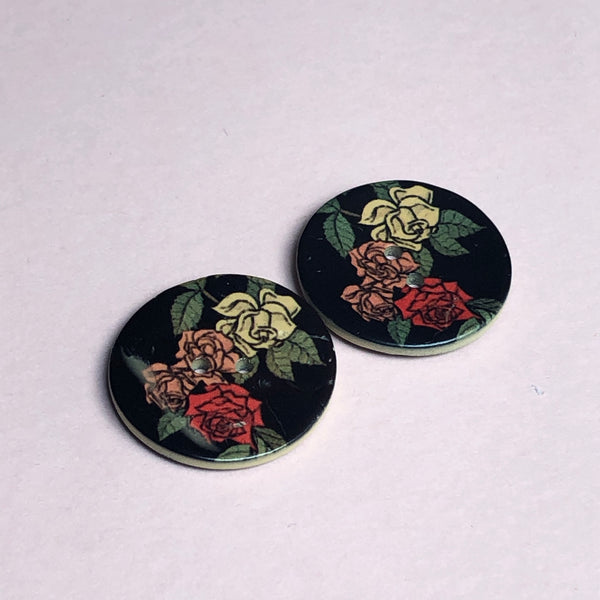 Coconut Shell Floral Buttons Pack of Two