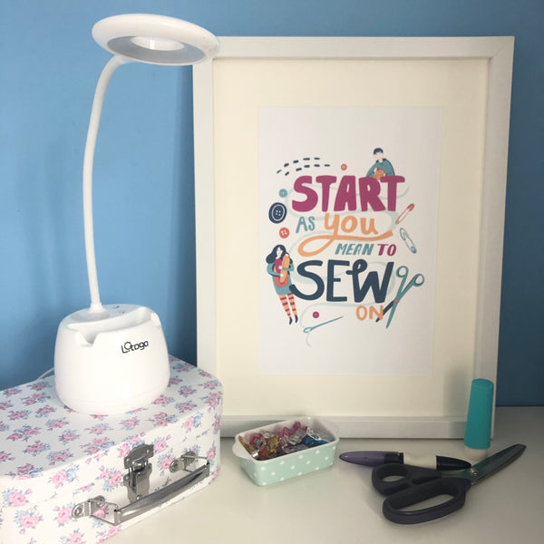 'START As You Mean To SEW On' A4 Art Print
