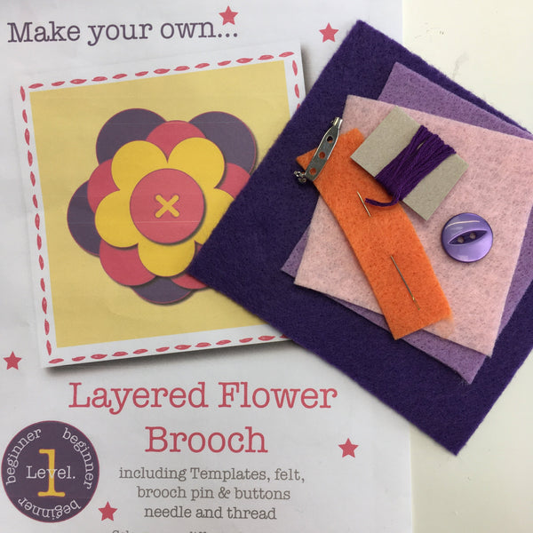 Flowered Brooch Craft Kit - Purple, Pink and Orange