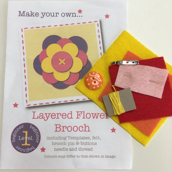 Flowered Brooch Craft Kit - Oranges and Reds