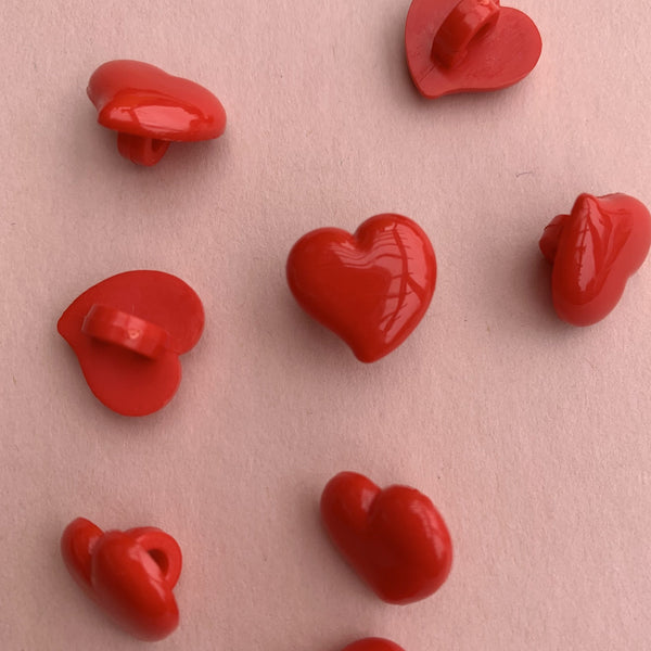 Off Centre Red Hearts 13mm Buttons Pack of Five