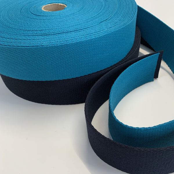 4cm Cotton Webbing - Black, White, Cream, Teal and Navy