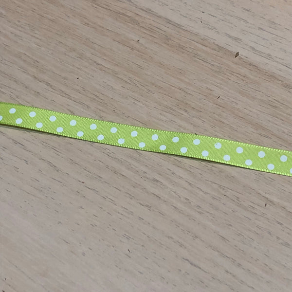 Lime Green Spotty Ribbon 10mm