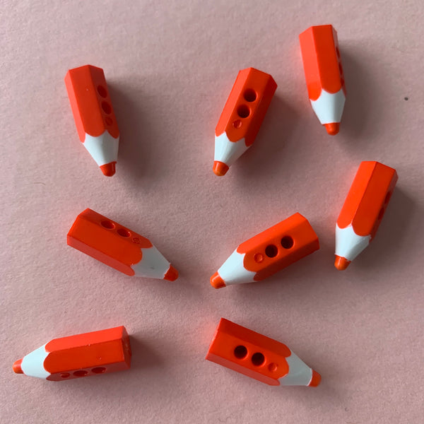 Novelty Red Pencil 3D Buttons Pack of Five