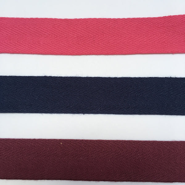 Cotton Herringbone Tape 2cm Wide - Navy, Purple and Pink