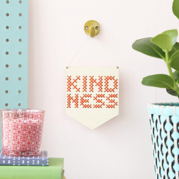 'KINDNESS' MINI CROSS STITCH EMBROIDERY BOARD KIT IN BLUE