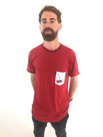 Camiseta Trankilo Pocket Surf Burdeos