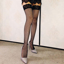 Lace Rhinestone Mesh Stockings