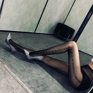 Fishnet Holes Rhinestone Tights