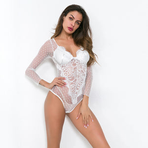 Partial Sheer Lace Bodysuit