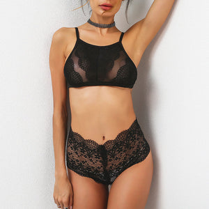 Partial Sheer Lace Bra Set