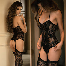 Floral Lacy Sheer Crotchless Bodystocking